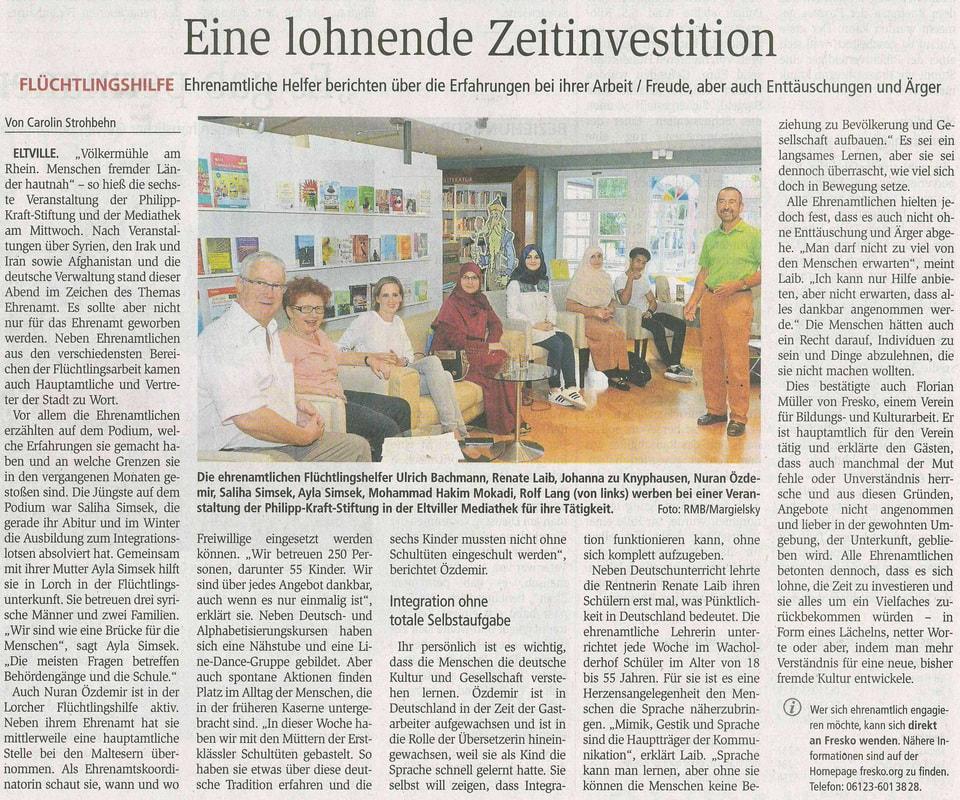 02.09.2016 Wiesbadener Kurier Völkermühleveranstaltung zum Thema Ehrenamt