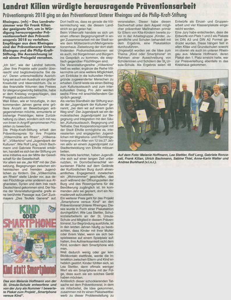 13. Dezember 2018 Rheingau Echo zur Verleihung des Präventionspreises