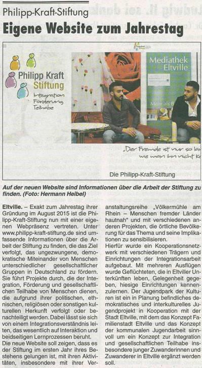 08.09.2016 Rheingau Echo 1 Jahr Philipp-Kraft-Stiftung