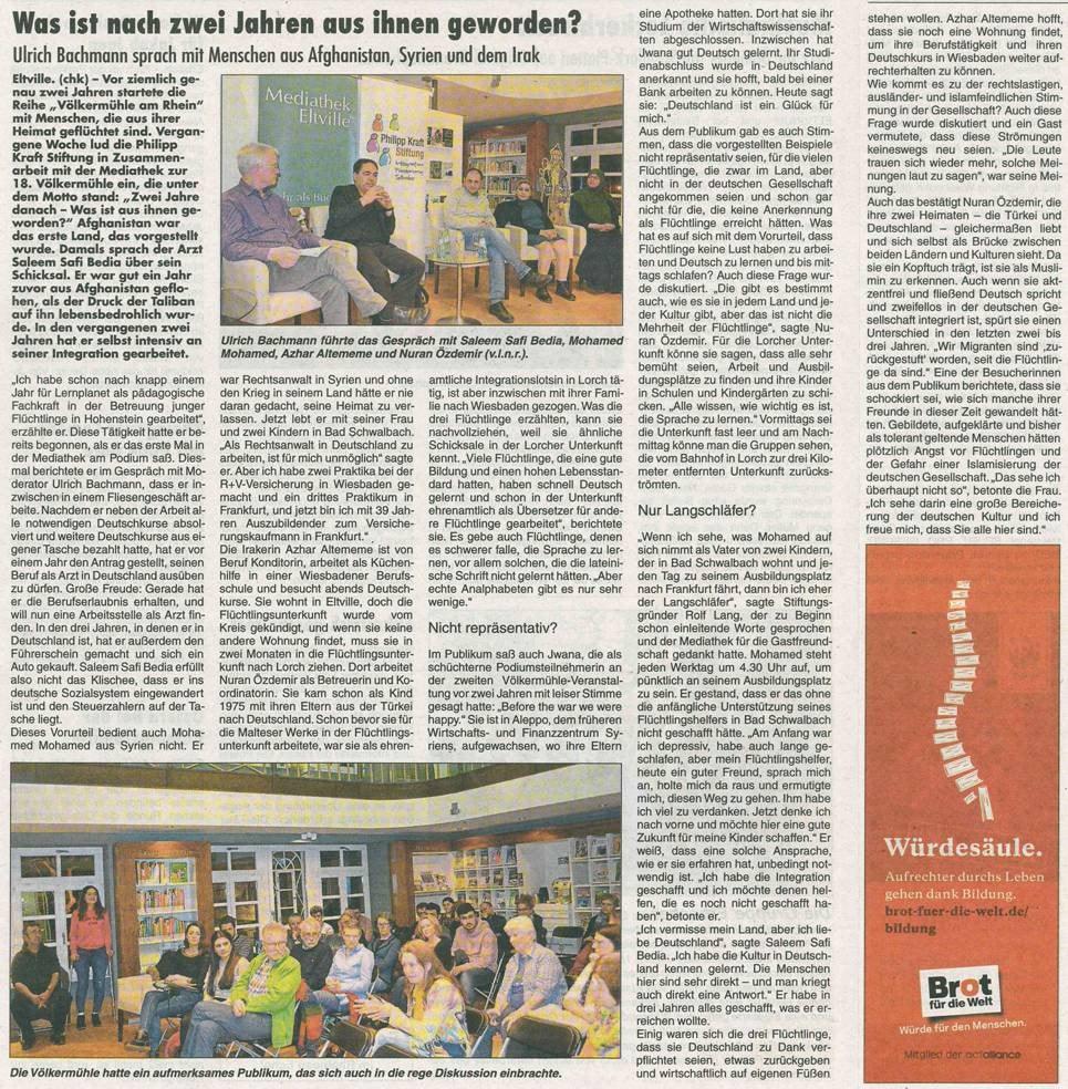 """22. März 2018  Rheingau Echo zur Völkermühle am Rhein  """"Was ist aus ihnen geworden"""""""