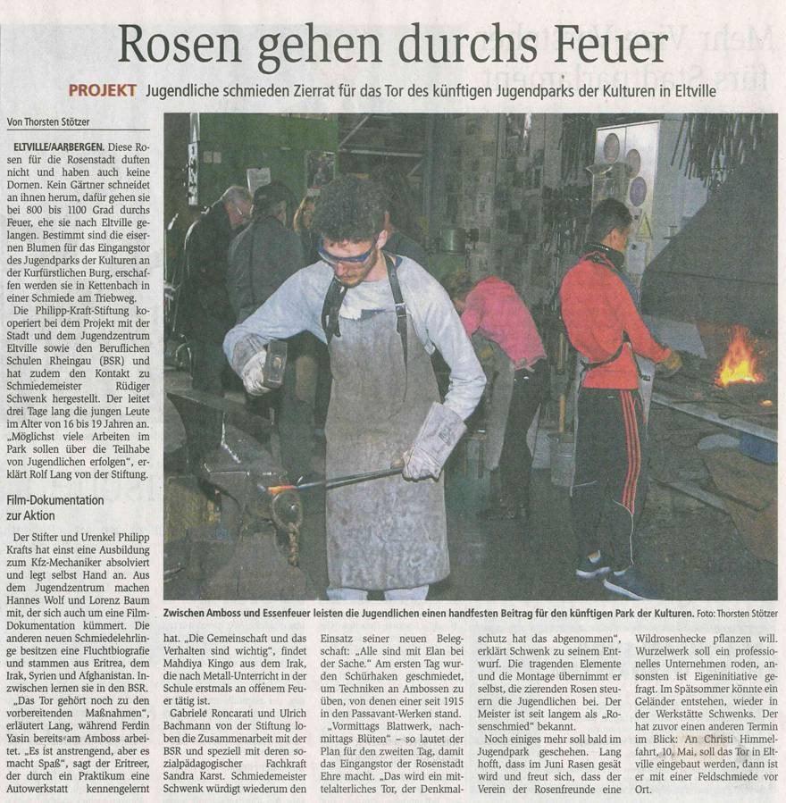 """3. März 2018 Wiesbadener Kurier zum Jugendpark der Kulturen """"interkultureller Schmiedekurs"""""""