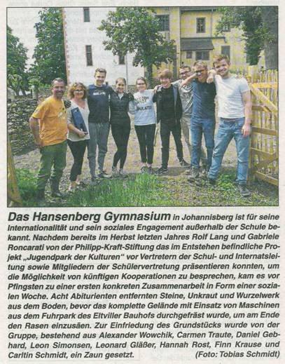 24. Mai 2018  Rheingau Echo zur Sozialprojekt Woche Hansenberg Gymnasium