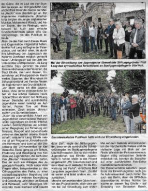 6. September 2018 Rheingau Echo zur Eröffnung Jugendpark der Kulturen