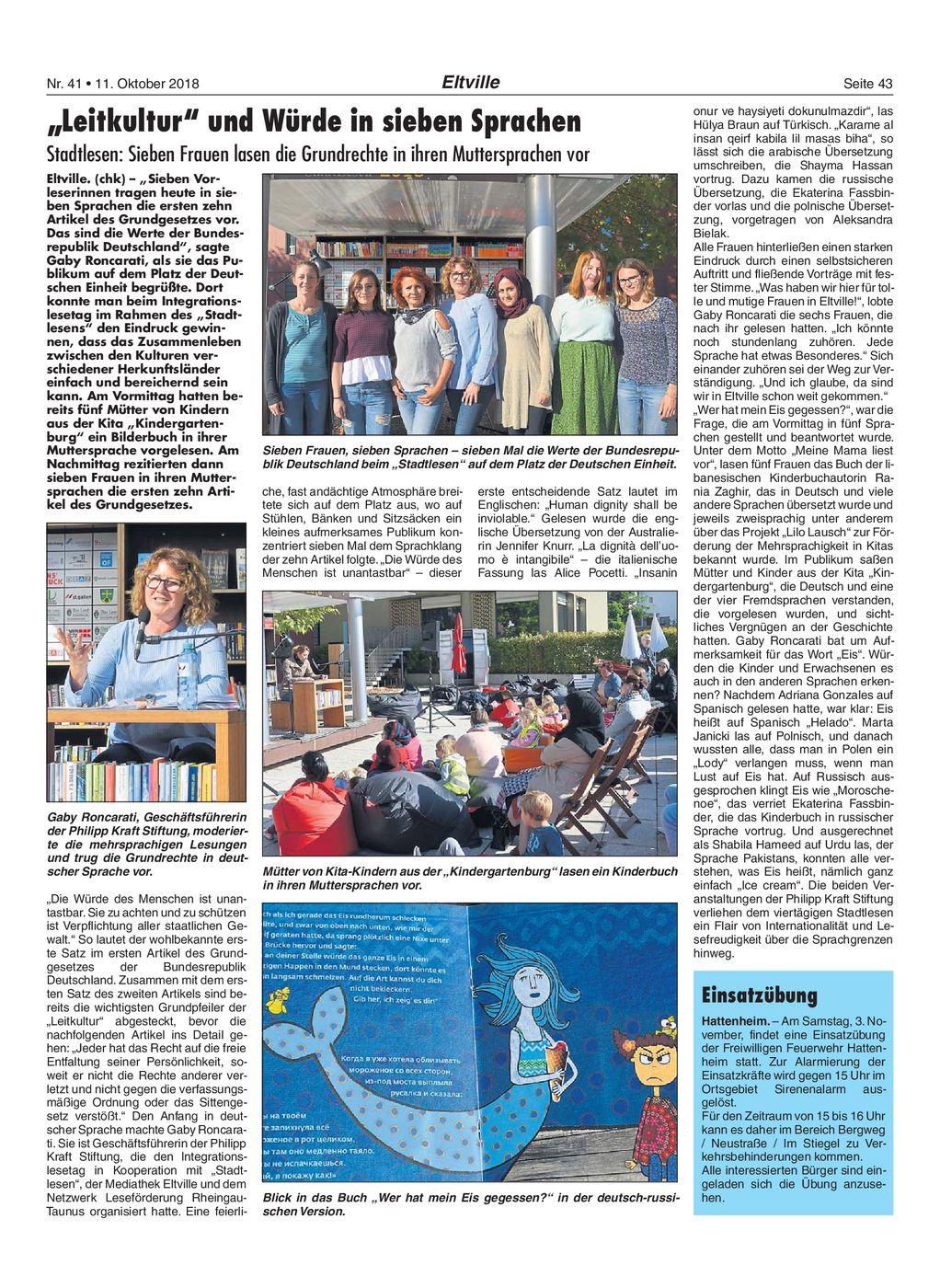 5. Oktober 2018 Rheingau Echo zum Integrationslesetag