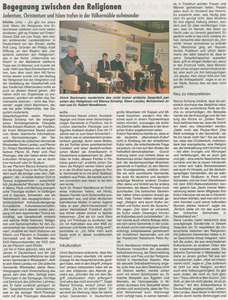 """29. November 2018 Rheingau Echo zur Völkermühle  """"Integration und Gestaltung des Miteinanders - ein Gespräch zwischen den Religionen"""""""