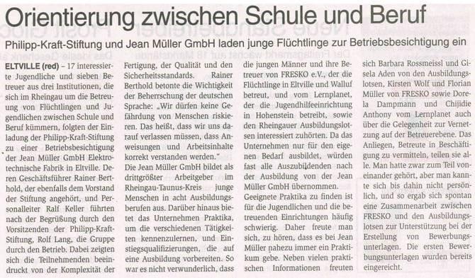 07.12.2016 Wochenblatt Betriebsbesichtigung der Jean Müller GmbH in Eltville