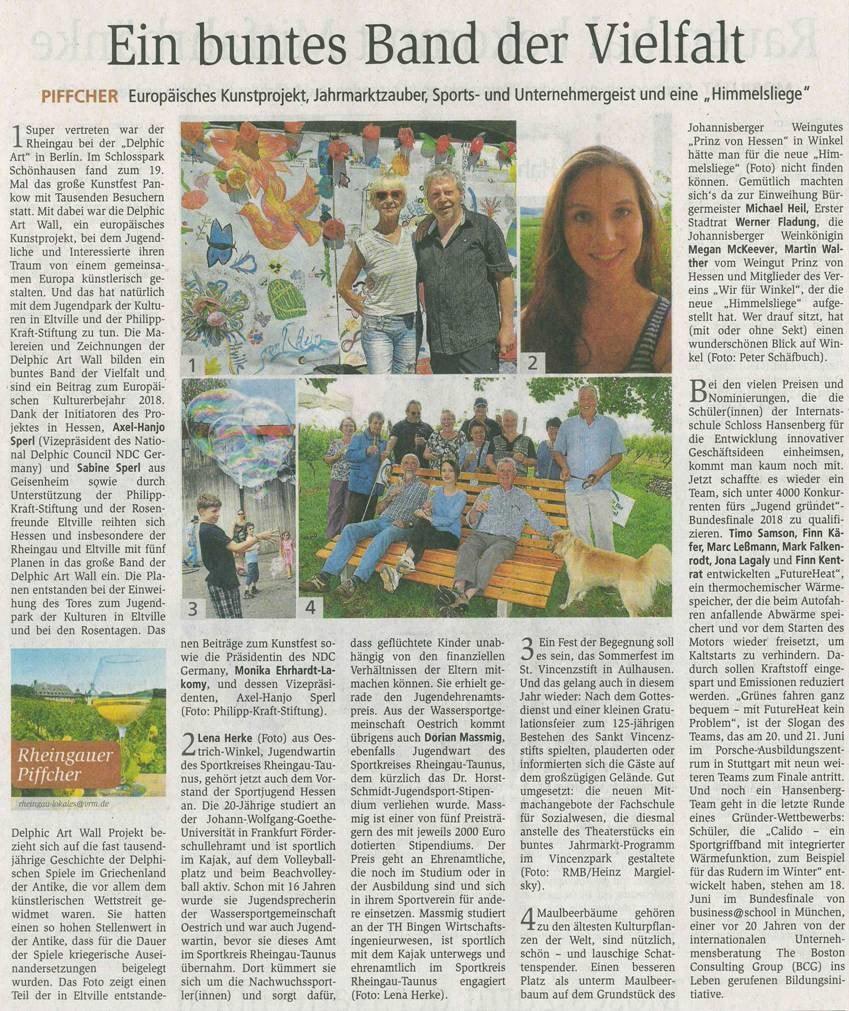 13. Juni 2018  Wiesbadener Kurier zur Aktion Delphic  Art Wall