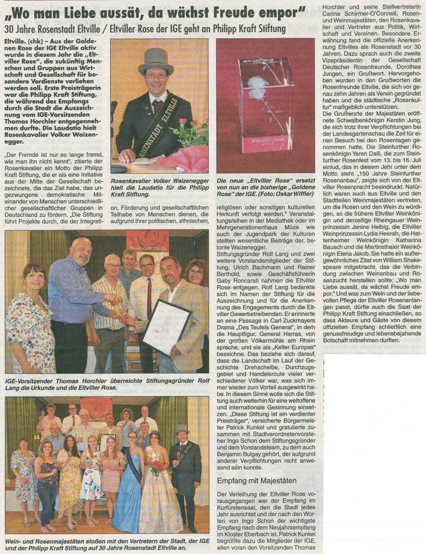 7. Juni 2018  Rheingau Echo zur Verleihung der Eltviller Rose