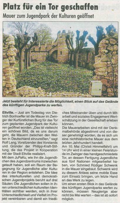 12. April 2018  Rheingau Echo zum Mauerdurchbruch