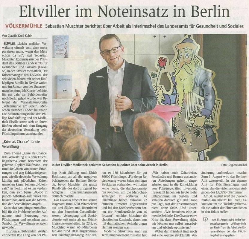 18.07.2016 Wiesbadener Kurier Völkermühleveranstaltung  zum Thema Verwaltung