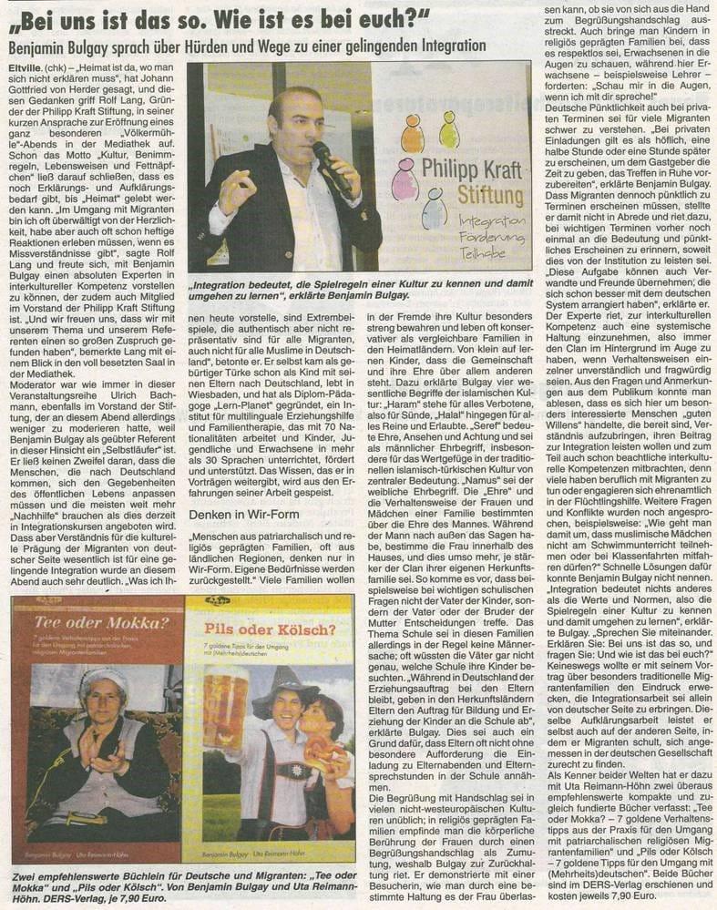 08.12.2016 Rheingau Echo Völkermühle zum Thema interkulturelle Fettnäpchen