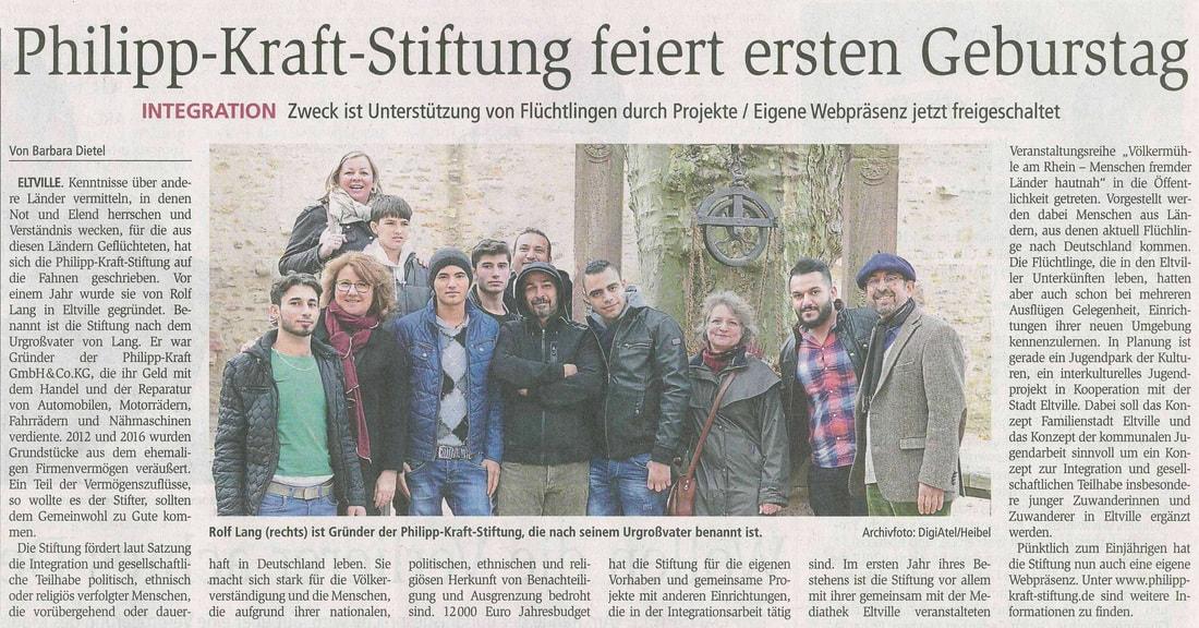 01.09.2016  Wiesbadener Kurier 1 Jahr Philipp-Kraft-Stiftung