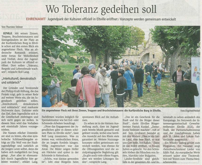 3. September 2018 Wiesbadener Kurier zur Eröffnung der Kulturen