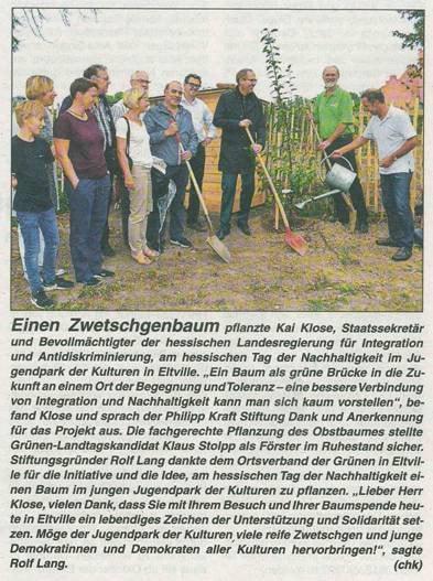 13. September 2018 Rheingau Echo zur Baumpflanzaktion