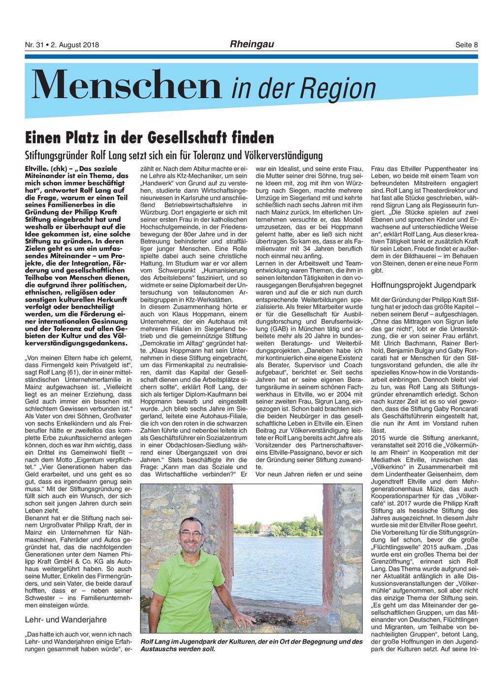 2. August 2018 Rheingau Echo Portrait über Rolf Lang, den Stifter