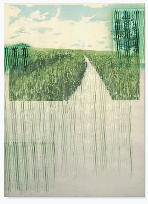 Street of nature_110cm x 150cm_varnisch,indian ink,pencil,resin transparent_on paper.