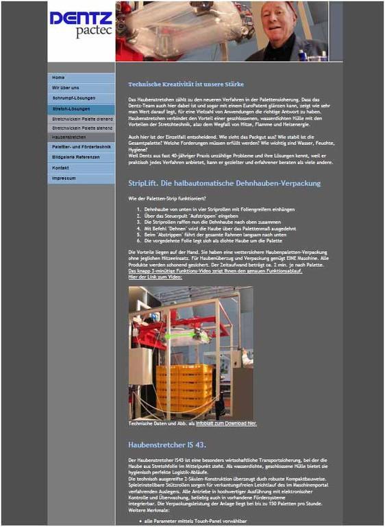 Website für www.dentz-pactec.de (mit 1und1-Baukasten)