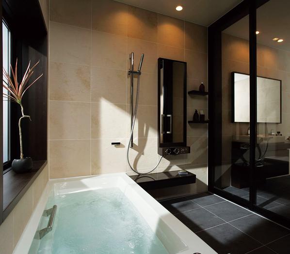 落ち着きが感じられるシックなスタイル / まるで温泉旅館やリゾートホテルのような、シックなデザインのバスルームデザインは、非日常に誘う上質な時を約束します。