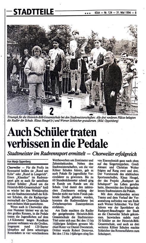 Kölner Stadt Anzeiger Nr. 124 31. 05.1994