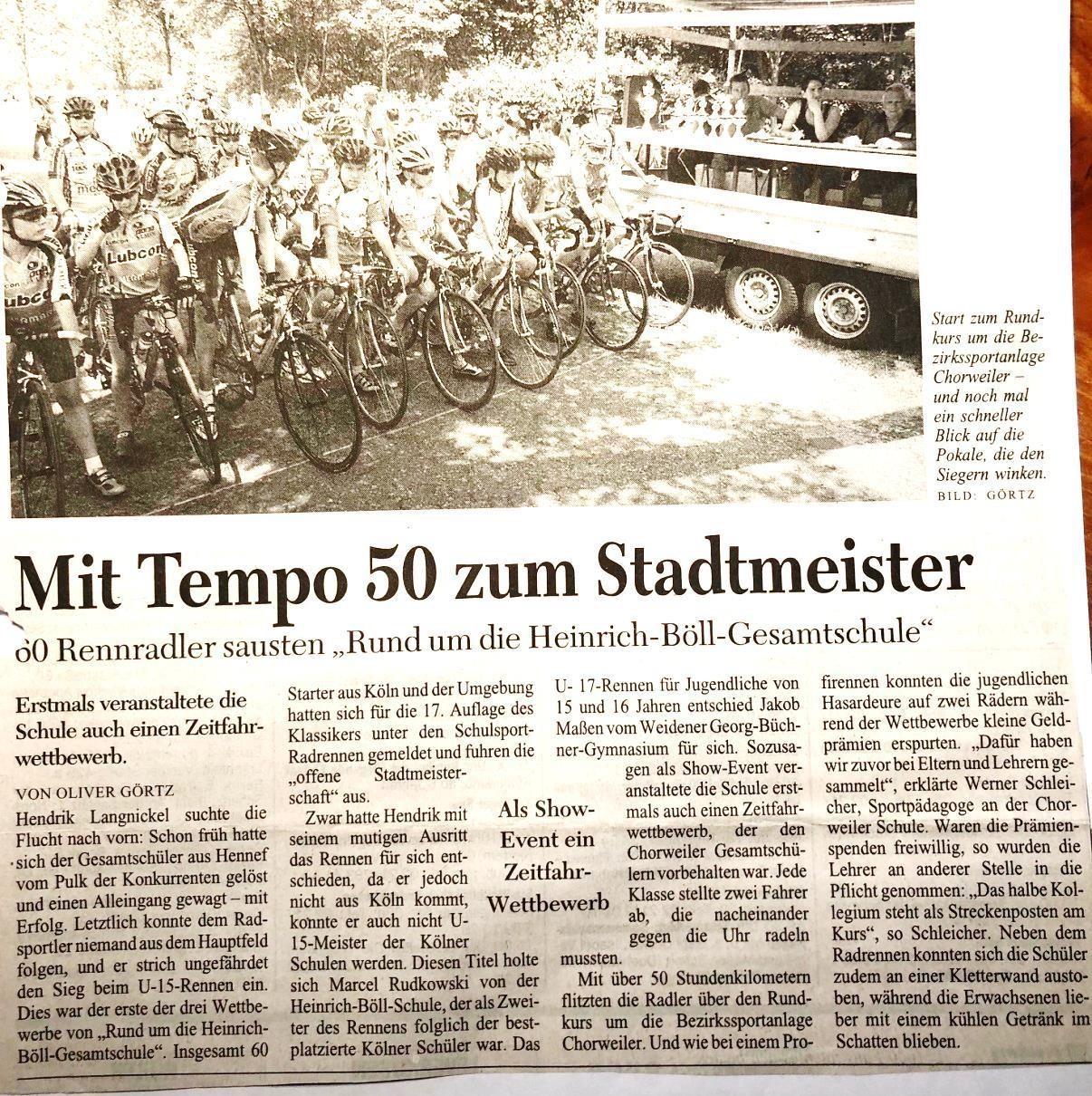 """KSTA vom 24.06.2005 """"Rund die Heinrich-Böll-Gesamtschule""""-Stadtmeisterschaft der Kölner Schulen"""