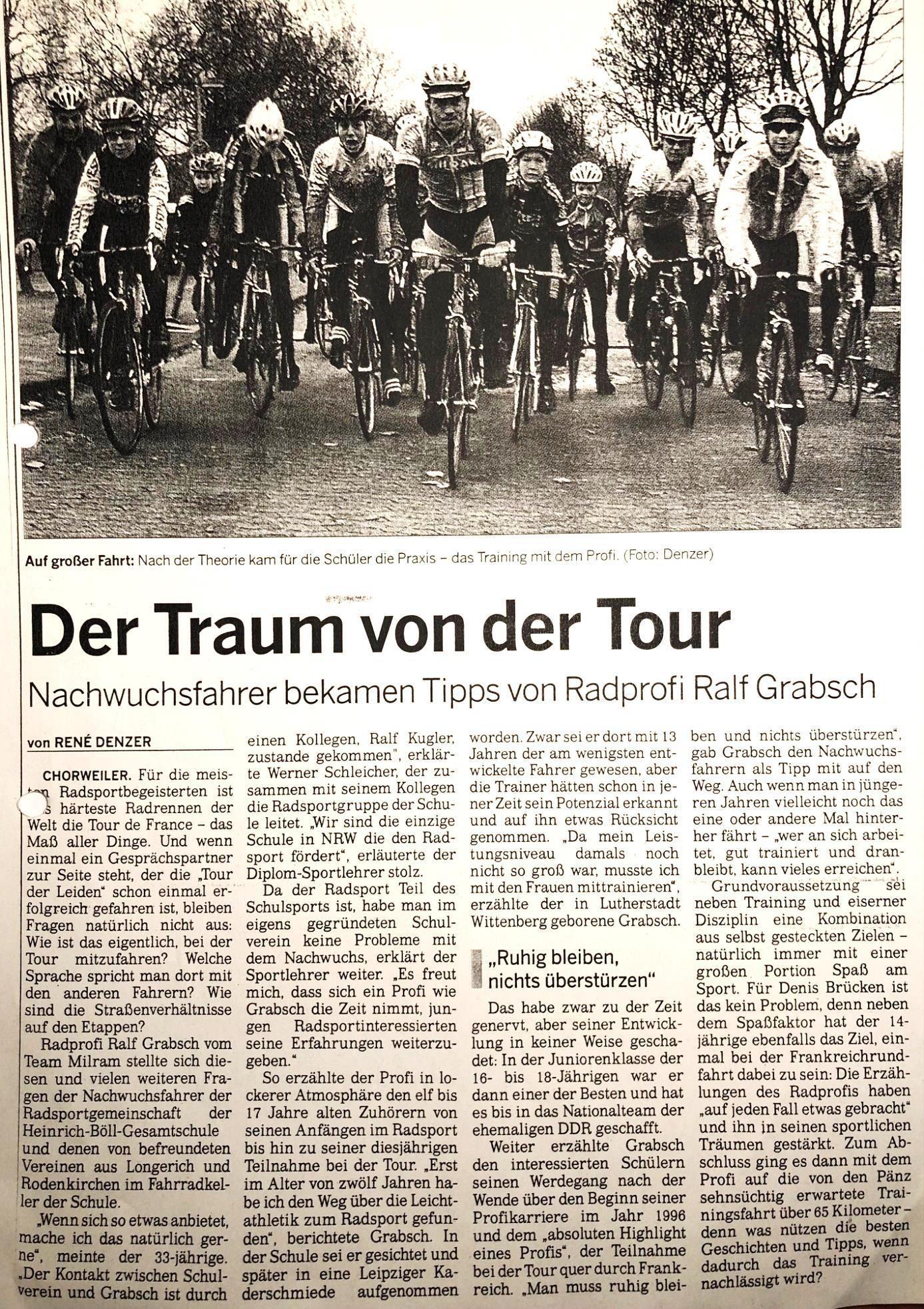 Kölnische Rundschau von 30.11.2006 Milram Profi Ralf Grabsch, heute Bundestrainer, an der HBG