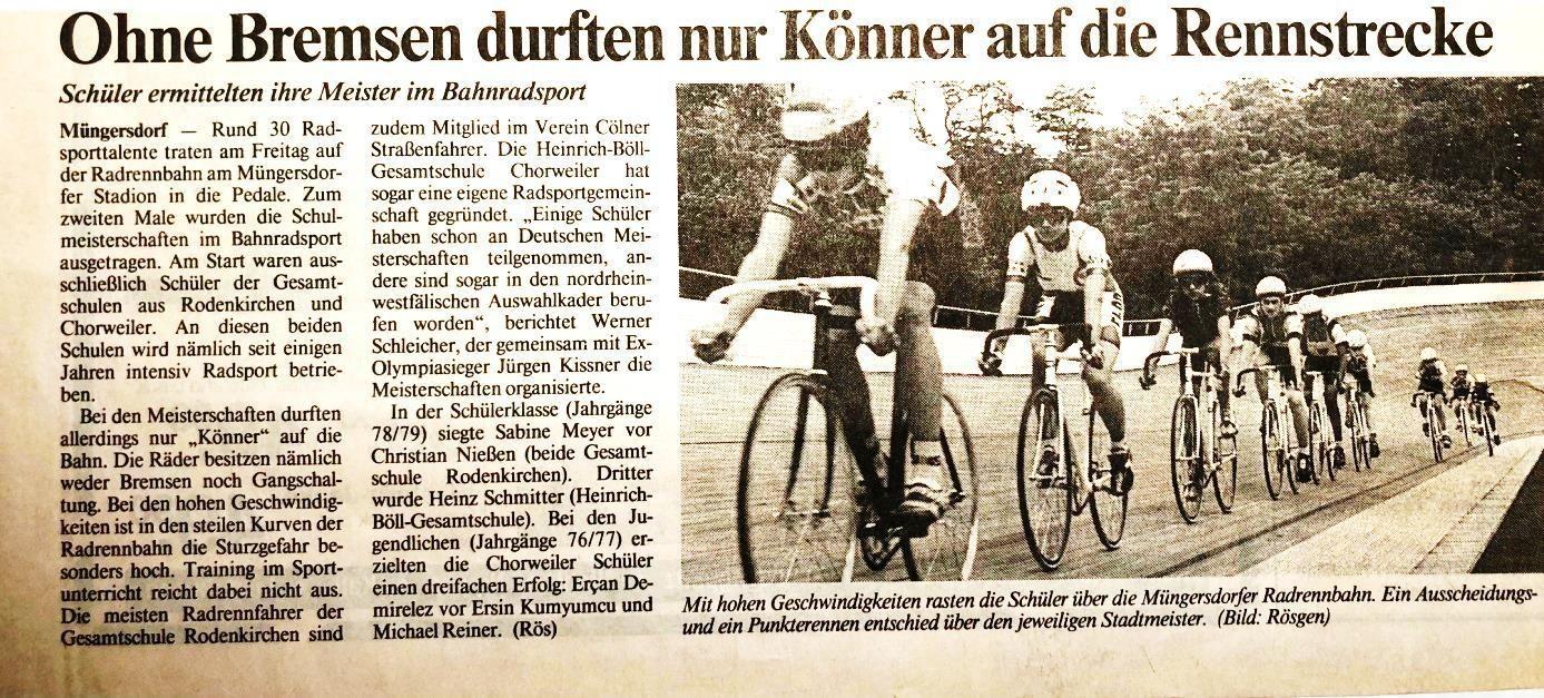 KSTA 27.06.1992 Stadtmeisterschaft der Kölner Schulen auf der Albert-Richter-Bahn in Müngersdorf
