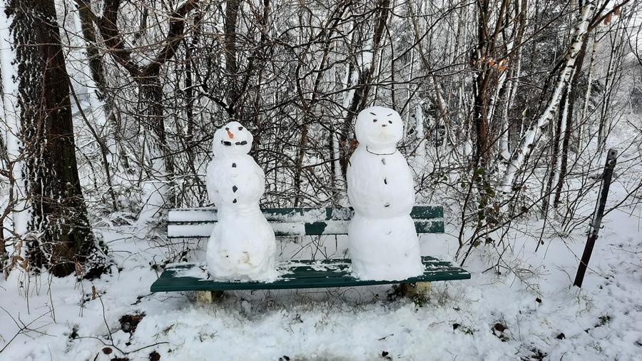 Auch Schneemänner wollen mal rasten