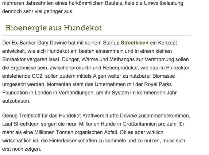 Quelle: WiWo Green (Online), 17.10.2014, Autor: Marius Hasenheit