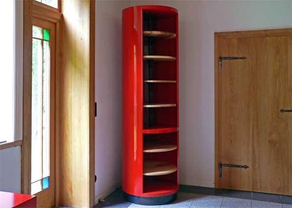 Bücherregal drehbar; Esche geölt, Sperrholz lackiert