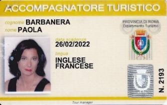Paola Barbanera - Patentino di Accompagnatore Turistico per Roma e il Vaticano