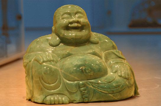 Speckbuddha aus Jade