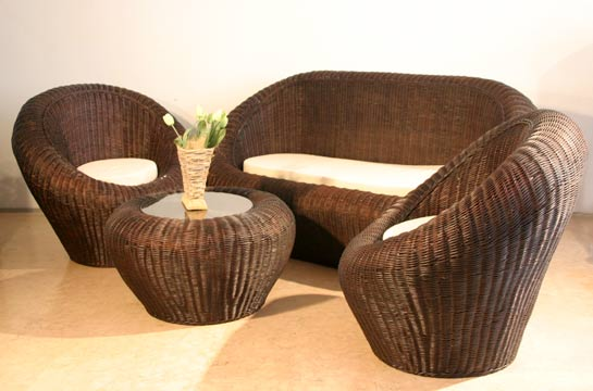 4-teiliges Korbmöbelset mit Sitzauflage, Couch (b=198 h=93 t= 93), 2 Stühle, 1 Tisch
