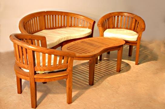 Palmholzgruppe mit Sitzauflage, Couch (b=160 h=88 t=60cm), 2 Stühle, 1 Tisch