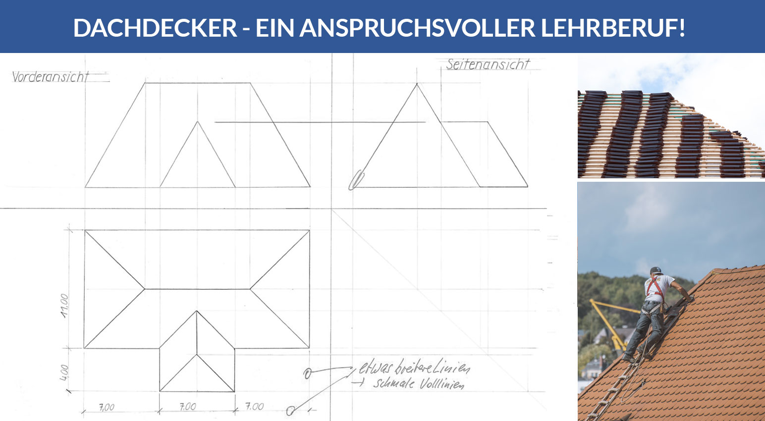 Technische Zeichnung eines Dachdeckerlehrlings, Thema: Dachabwicklung / Theorie und Praxis