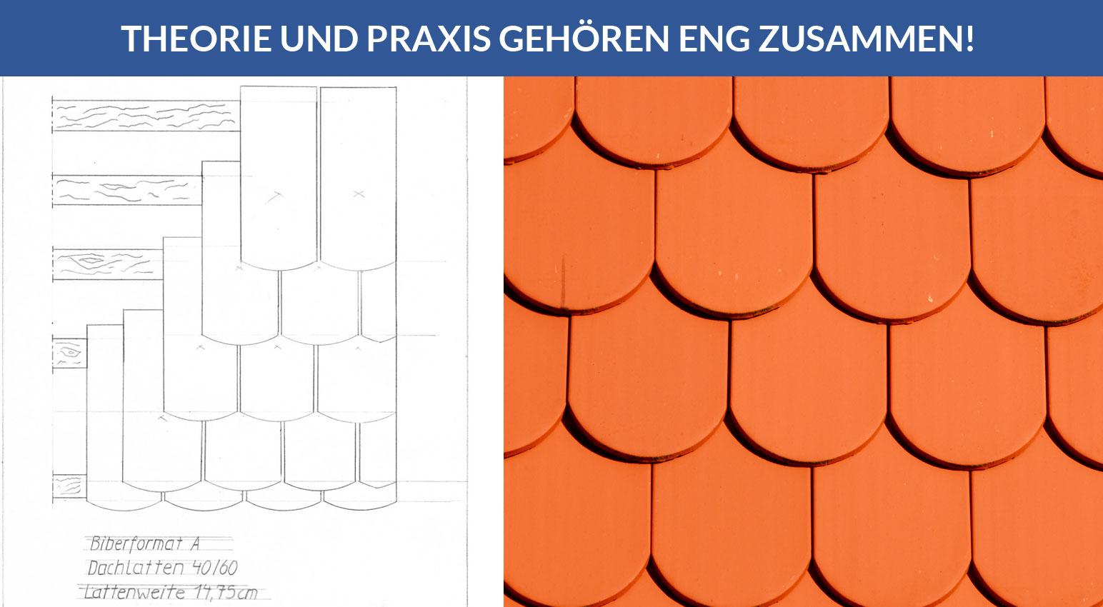 Technische Zeichnung eines Dachdeckerlehrlings, Thema: Biberschwanz-Deckung / Theorie und Praxis