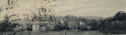Villa Leopold, Villa Gertrud, Villa Pfeifer (heute Pension Rosseck) und Villa Belz von links nach rechts - Archiv W.Malek