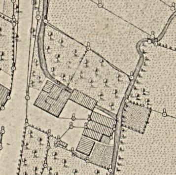 Katasterkarte von 1875 - die Grumbach floß vom heutigen Parkplatz ganz nah neben der RuhlaerStr. bis zur Obermühle und hatte das Mühlenrad im Mühlengebäude angetrieben....