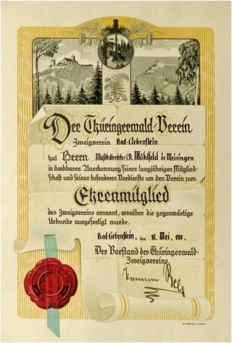 Urkunde über die Ehrenmitgliedschaft im Thüringerwaldverein, Zweigverein Bad Liebenstein Christian Mühlfeld (1849-1932),  26. Mai 1930
