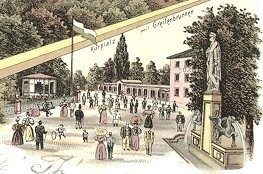 links Musikpavillon, der 1871 errichtet worden war
