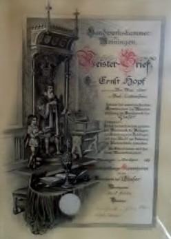 Meisterbrief Ernst Hopf - im Besitz von Manfred Hopf