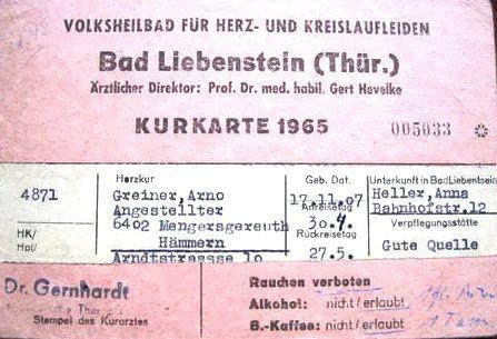 Kurkarte von 1965 - Archiv - W.Malek