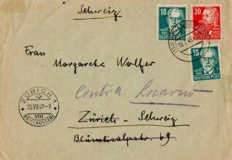 Brief von der SBZ 1949 in die Schweiz