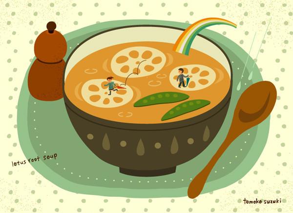雨上がりのれんこんスープ
