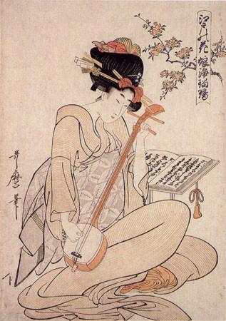 geisha jouant du shamisen (Ukiyo-e de Kitagawa Utamaro 1800)