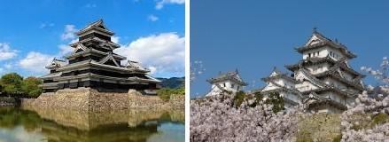 Matsumoto-jō (le Corbeau) à gauche et Himeji-jō (le Héron Blanc) à droite
