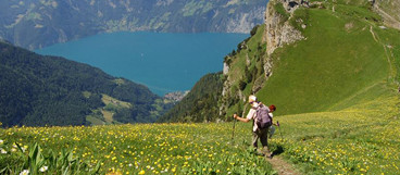 Hiking path at the Stoss overlooking part of the Lake Lucerne