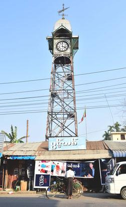 シットウェのシンボルである時計台