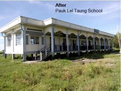 BAJの支援する「Pauk Lel Taung School」のBAJによる支援後(BAJのHPから引用)