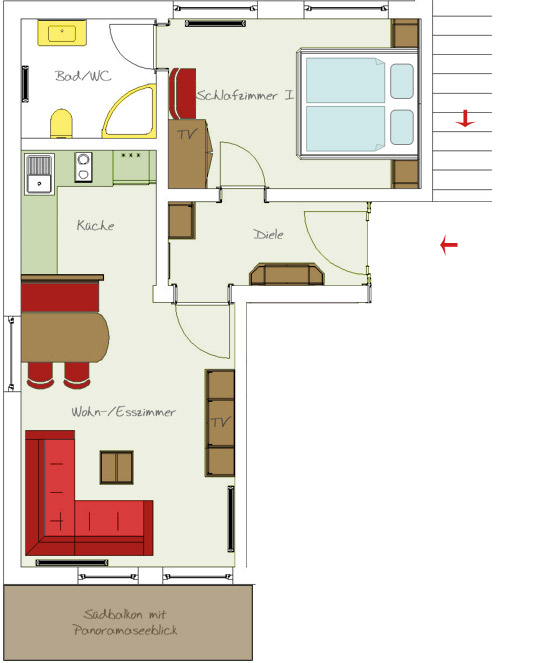 apartment 2 for 2-3 people