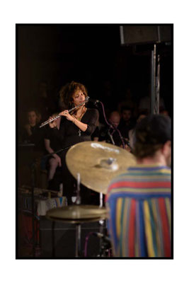 Maisha playing at the Church of Sound, Nubya Garcia on flute and Jake Long on drums. 1.6.17